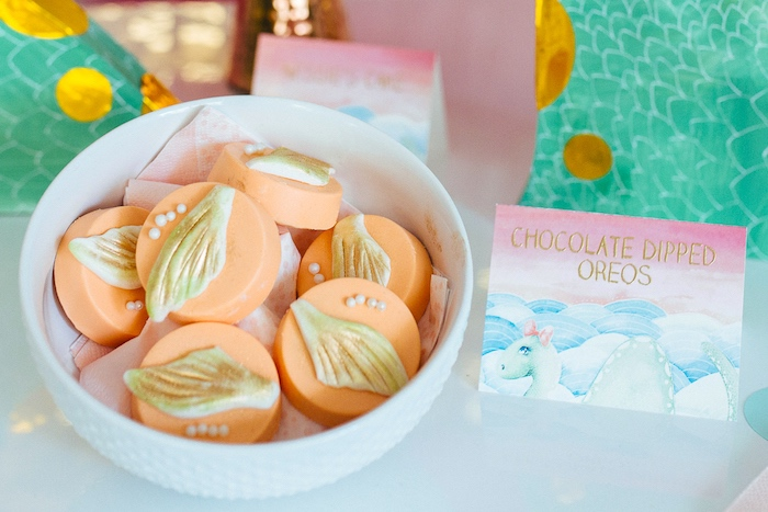 Chocolate dipped Oreos from a Girly Glam Loch Ness Monster Birthday Party on Kara's Party Ideas | KarasPartyIdeas.com (12)
