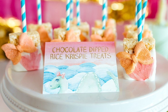 Chocolate dipped rice crispy treats from a Girly Glam Loch Ness Monster Birthday Party on Kara's Party Ideas | KarasPartyIdeas.com (11)