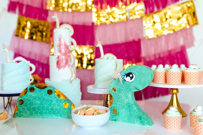 Loch Ness Monster table decoration from a Girly Glam Loch Ness Monster Birthday Party on Kara's Party Ideas | KarasPartyIdeas.com (27)