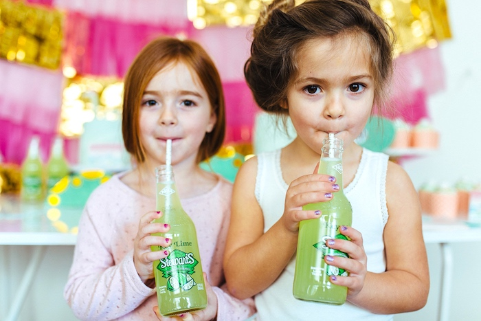 Green drinks from a Girly Glam Loch Ness Monster Birthday Party on Kara's Party Ideas | KarasPartyIdeas.com (21)