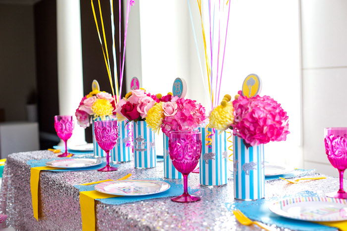 Guest table detail from a Glam Carnival Birthday Party on Kara's Party Ideas | KarasPartyIdeas.com (30)
