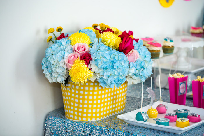 Floral centerpiece from a Glam Carnival Birthday Party on Kara's Party Ideas | KarasPartyIdeas.com (26)
