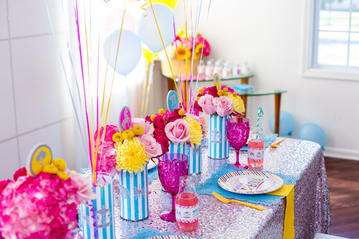Guest tablescape from a Glam Carnival Birthday Party on Kara's Party Ideas | KarasPartyIdeas.com (23)