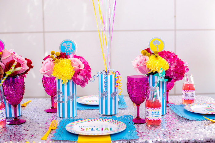 Place setting from a Glam Carnival Birthday Party on Kara's Party Ideas | KarasPartyIdeas.com (22)