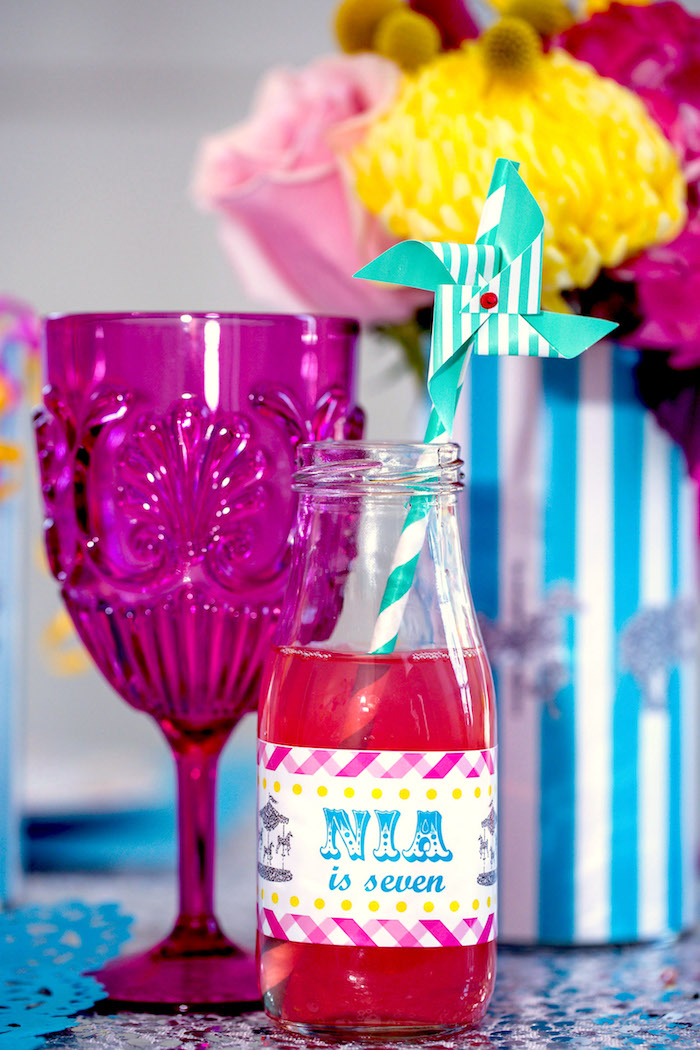 Drink bottle with pinwheel straw from a Glam Carnival Birthday Party on Kara's Party Ideas | KarasPartyIdeas.com (21)