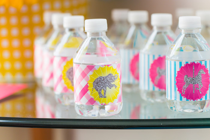 Water bottle labels from a Glam Carnival Birthday Party on Kara's Party Ideas | KarasPartyIdeas.com (39)