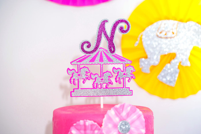 Carousel cake topper from a Glam Carnival Birthday Party on Kara's Party Ideas | KarasPartyIdeas.com (20)
