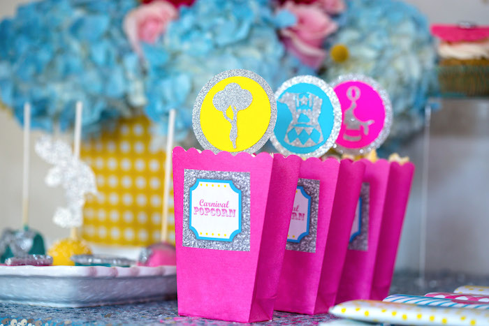 Popcorn boxes from a Glam Carnival Birthday Party on Kara's Party Ideas | KarasPartyIdeas.com (19)