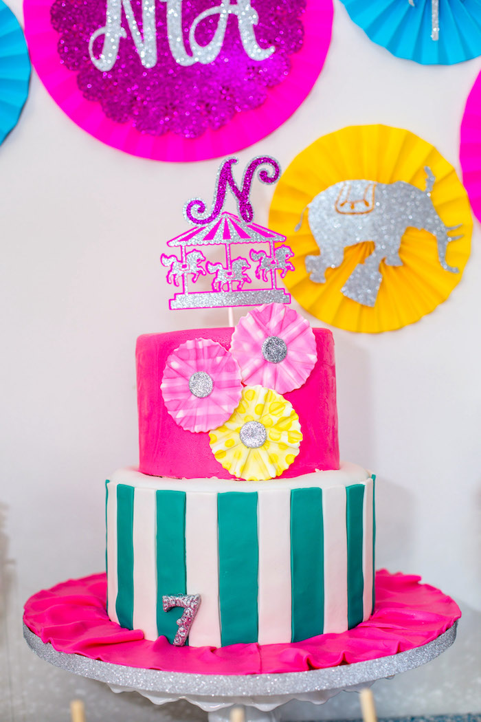 Girly carnival cake from a Glam Carnival Birthday Party on Kara's Party Ideas | KarasPartyIdeas.com (18)