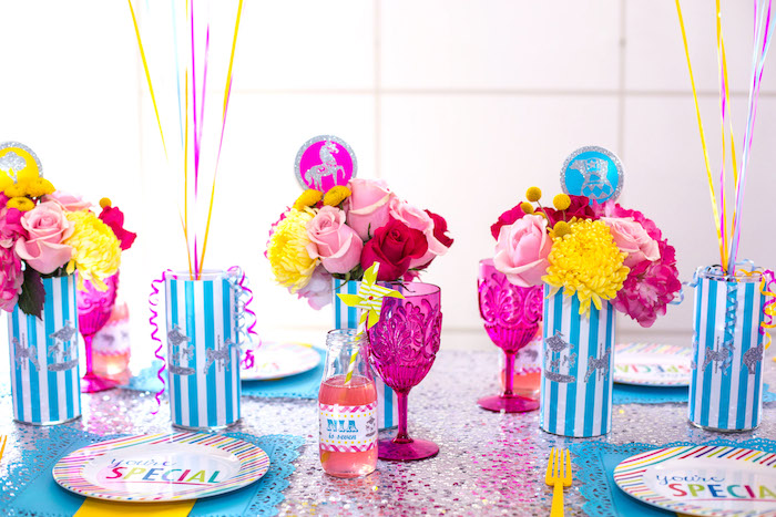 Guest tablescape from a Glam Carnival Birthday Party on Kara's Party Ideas | KarasPartyIdeas.com (16)