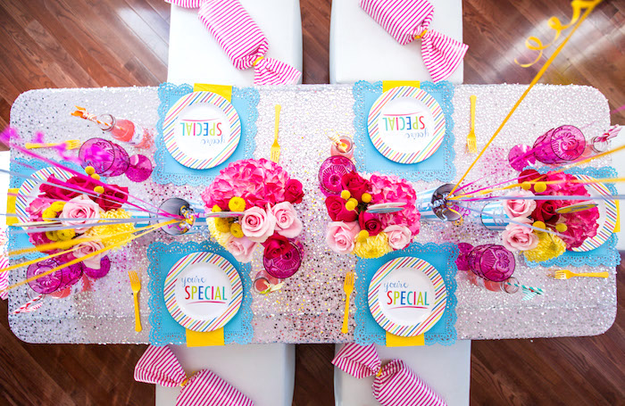 Guest tabletop from a Glam Carnival Birthday Party on Kara's Party Ideas | KarasPartyIdeas.com (14)