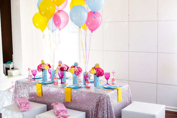Guest table from a Glam Carnival Birthday Party on Kara's Party Ideas | KarasPartyIdeas.com (12)