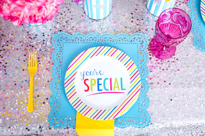 Place setting from a Glam Carnival Birthday Party on Kara's Party Ideas | KarasPartyIdeas.com (33)