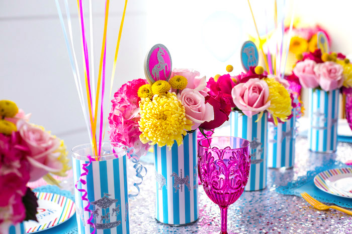 Flower centerpieces from a Glam Carnival Birthday Party on Kara's Party Ideas | KarasPartyIdeas.com (31)