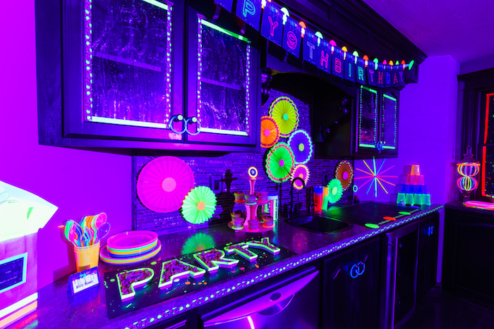 Partyware & decor from a Glow Dance Birthday Party on Kara's Party Ideas | KarasPartyIdeas.com (40)