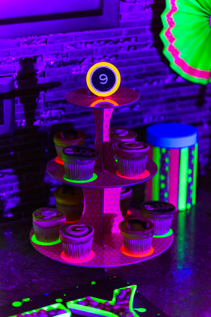 Cupcakes from a Glow Dance Birthday Party on Kara's Party Ideas | KarasPartyIdeas.com (32)