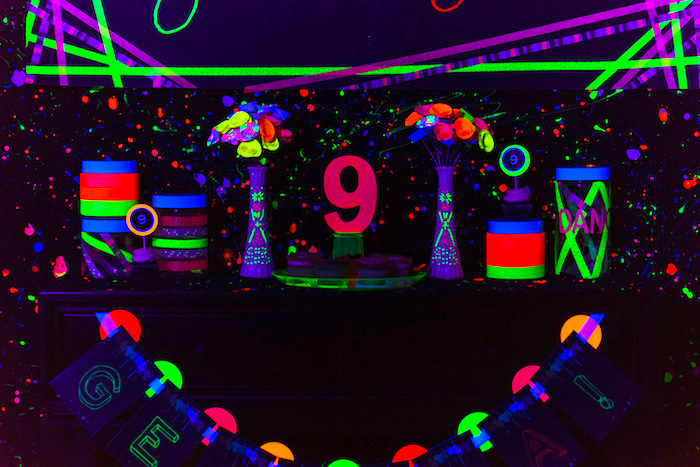 Decor from a Glow Dance Birthday Party on Kara's Party Ideas | KarasPartyIdeas.com (27)