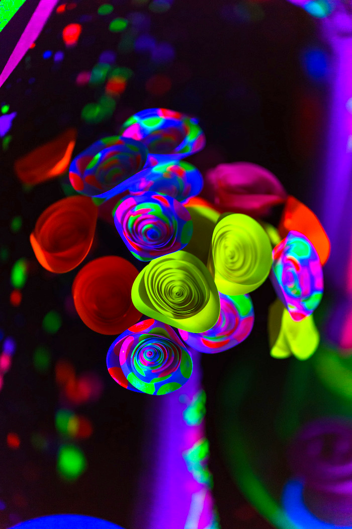 Paper flowers from a Glow Dance Birthday Party on Kara's Party Ideas | KarasPartyIdeas.com (26)
