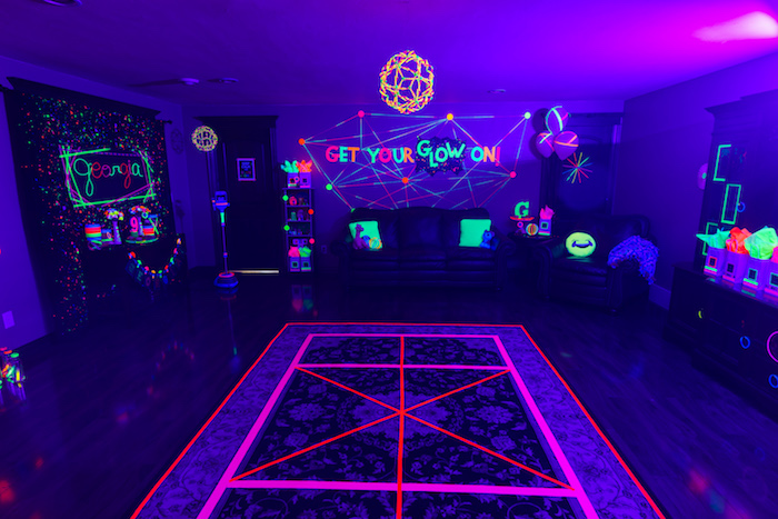 Glow in the Dark Dance Floor from a Glow Dance Birthday Party on Kara's Party Ideas | KarasPartyIdeas.com (50)