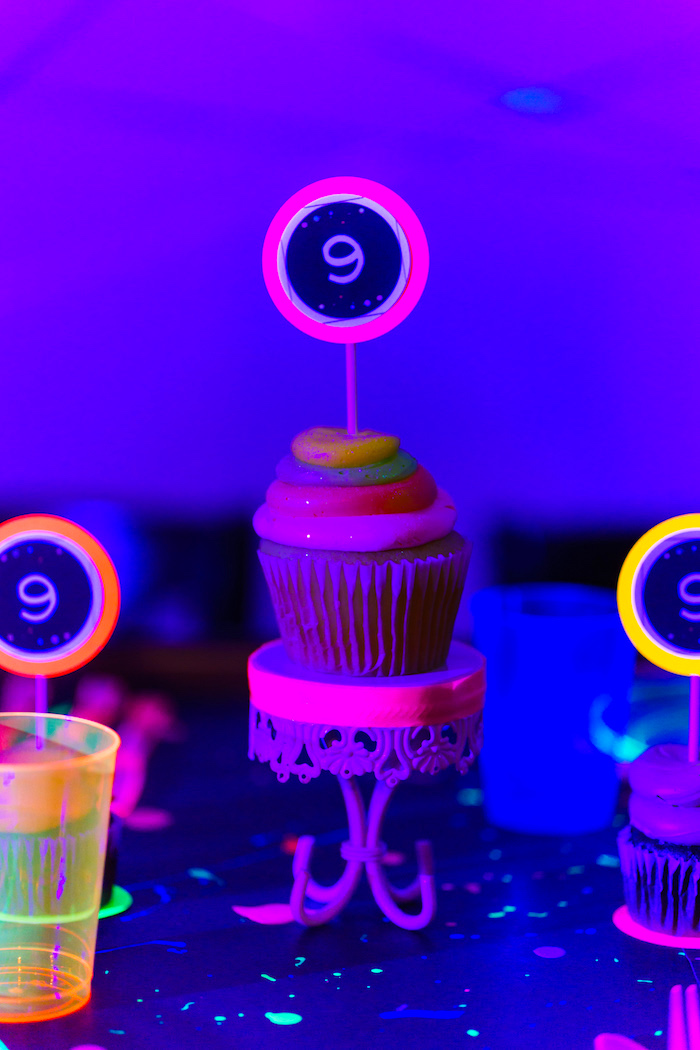 Cupcake from a Glow Dance Birthday Party on Kara's Party Ideas | KarasPartyIdeas.com (20)