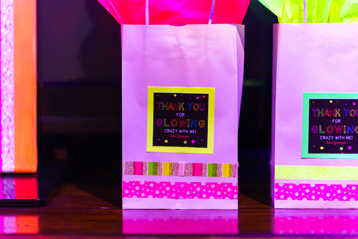 """Thank you for Glowing Crazy with Me"" gift bags from a Glow Dance Birthday Party on Kara's Party Ideas 