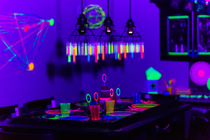 Guest + dining table from a Glow Dance Birthday Party on Kara's Party Ideas | KarasPartyIdeas.com (16)
