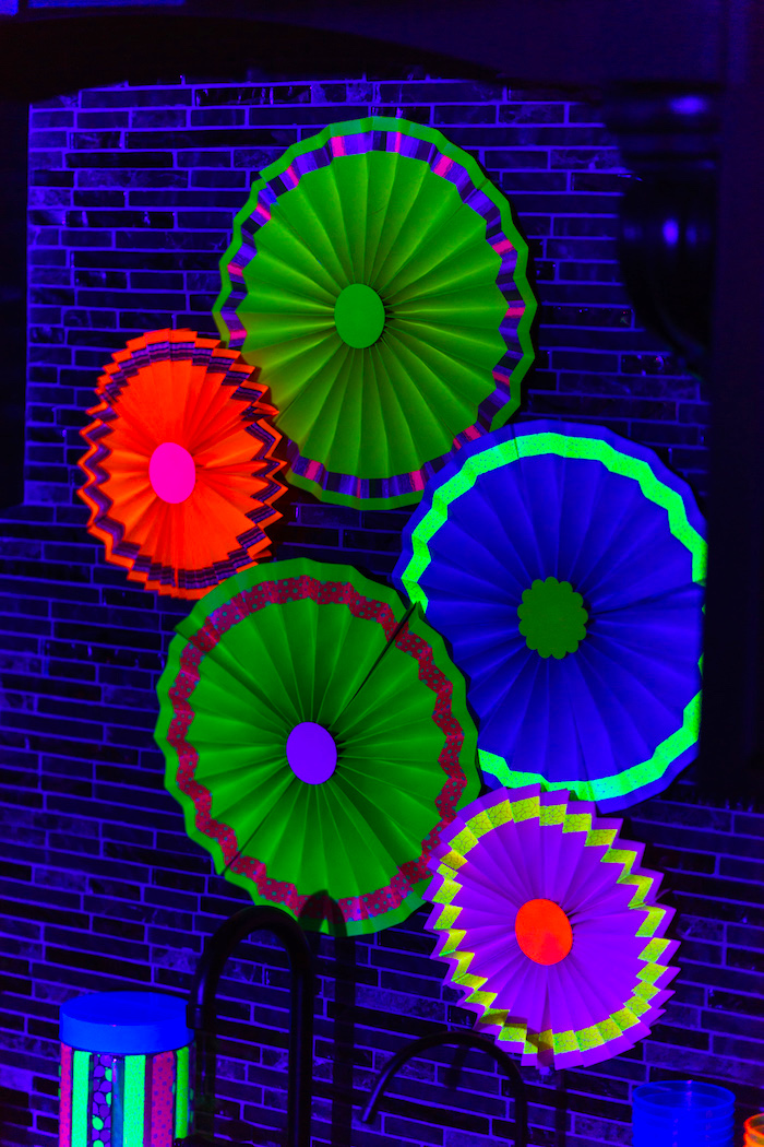 Glow in the Dark paper fans from a Glow Dance Birthday Party on Kara's Party Ideas | KarasPartyIdeas.com (13)
