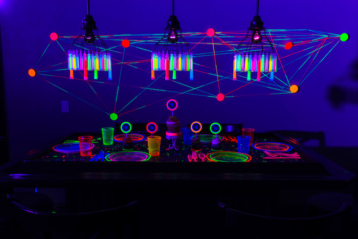 Glow in the Dark Dining Table from a Glow Dance Birthday Party on Kara's Party Ideas | KarasPartyIdeas.com (49)