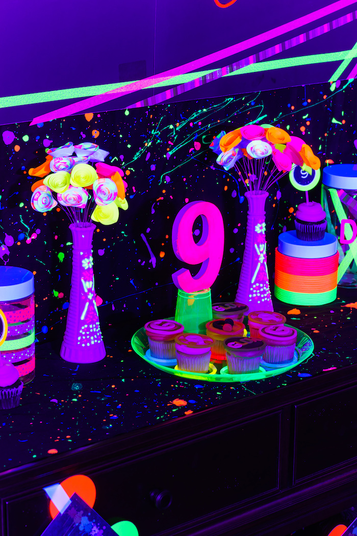 Glowing floral arrangements from a Glow Dance Birthday Party on Kara's Party Ideas | KarasPartyIdeas.com (11)