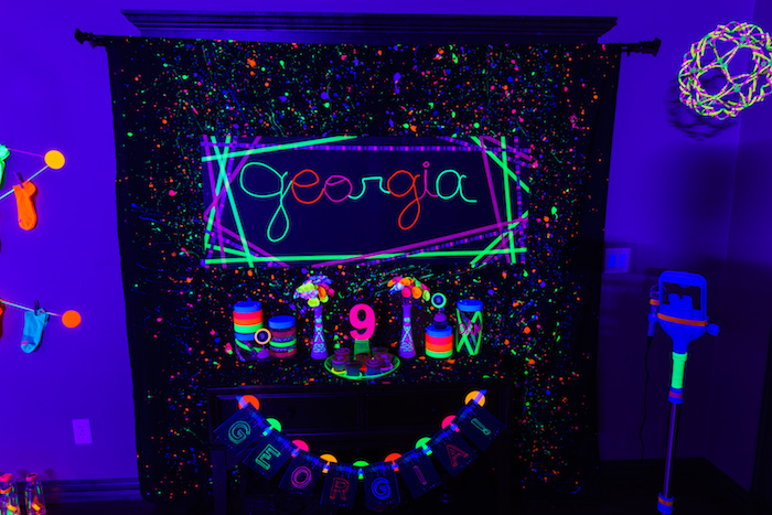 Head table from a Glow Dance Birthday Party on Kara's Party Ideas | KarasPartyIdeas.com (47)