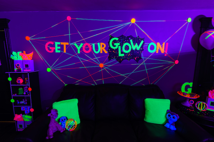 Yarn art backdrop from a Glow Dance Birthday Party on Kara's Party Ideas | KarasPartyIdeas.com (46)