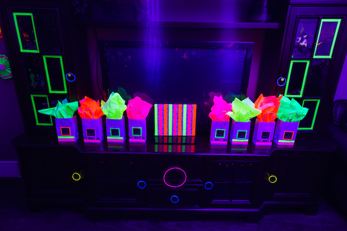 Glow in the Dark gift bags from a Glow Dance Birthday Party on Kara's Party Ideas | KarasPartyIdeas.com (44)