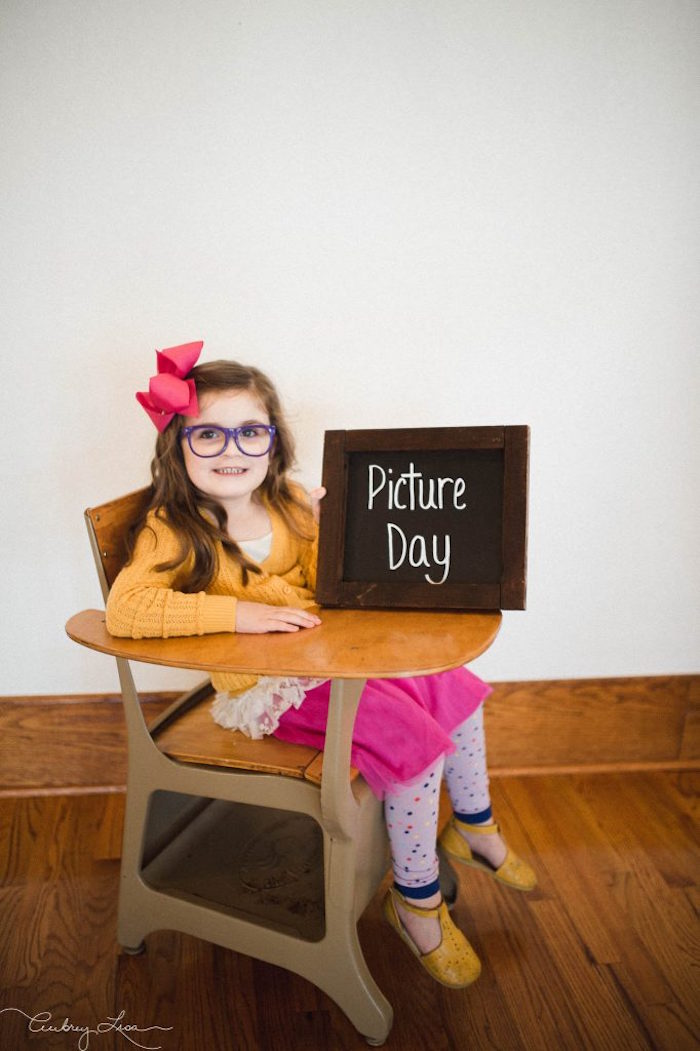 Picture day photo op from a Junie B. Jones Inspired Birthday Party on Kara's Party Ideas | KarasPartyIdeas.com (10)