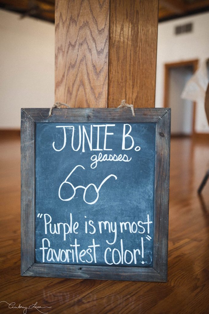 Blackboard sign from a Junie B. Jones Inspired Birthday Party on Kara's Party Ideas | KarasPartyIdeas.com (7)