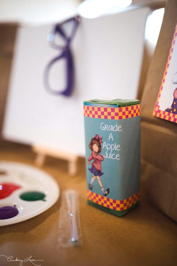 Grade A Apple Juice from a Junie B. Jones Inspired Birthday Party on Kara's Party Ideas | KarasPartyIdeas.com (4)