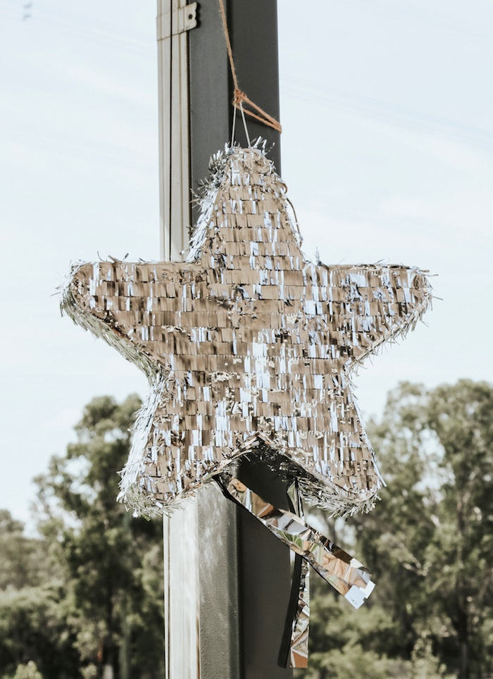"Foil star pinata from a Lumberjack + ""Wild ONE"" 1st Birthday Party on Kara's Party Ideas 