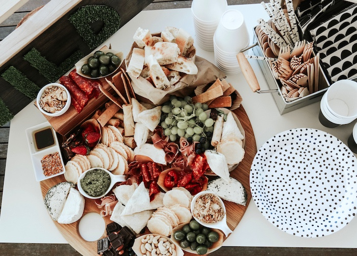 "Charcuterie plate from a Lumberjack + ""Wild ONE"" 1st Birthday Party on Kara's Party Ideas 