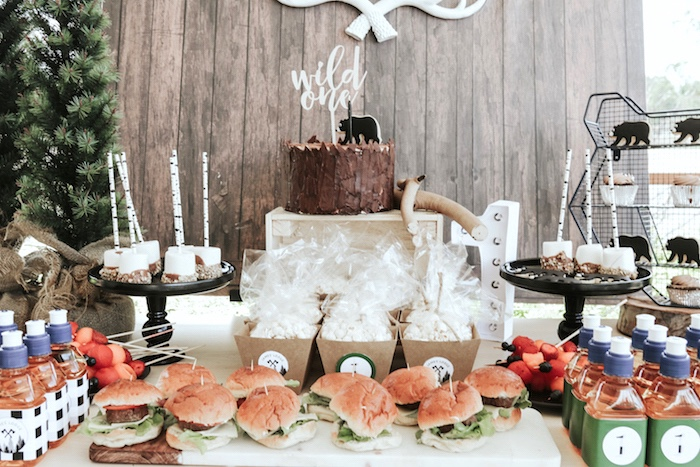 "Cake table from a Lumberjack + ""Wild ONE"" 1st Birthday Party on Kara's Party Ideas 
