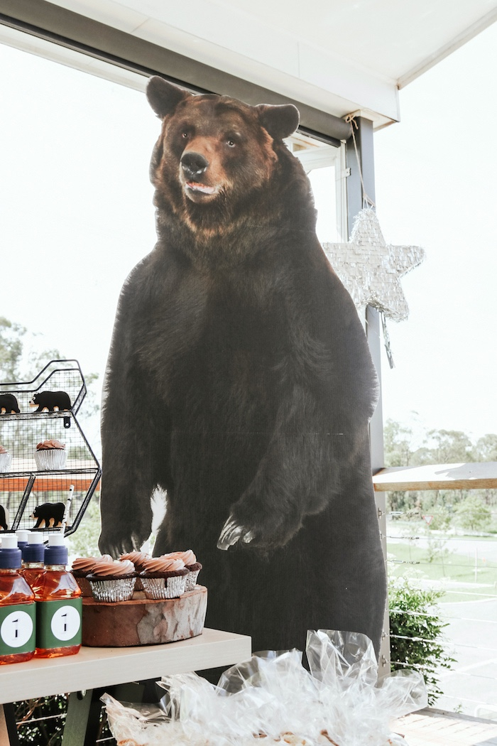 "Bear standee from a Lumberjack + ""Wild ONE"" 1st Birthday Party on Kara's Party Ideas 
