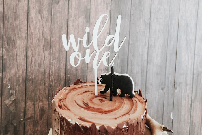 "Wild One cake topper from a Lumberjack + ""Wild ONE"" 1st Birthday Party on Kara's Party Ideas 