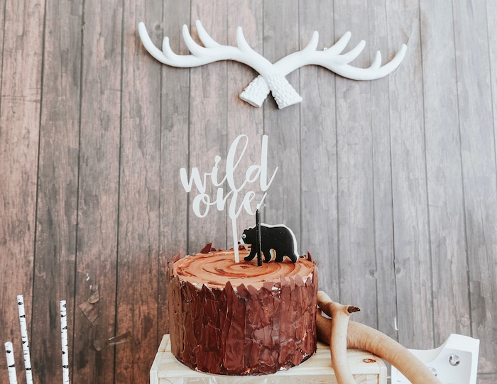 "Log stump cake from a Lumberjack + ""Wild ONE"" 1st Birthday Party on Kara's Party Ideas 