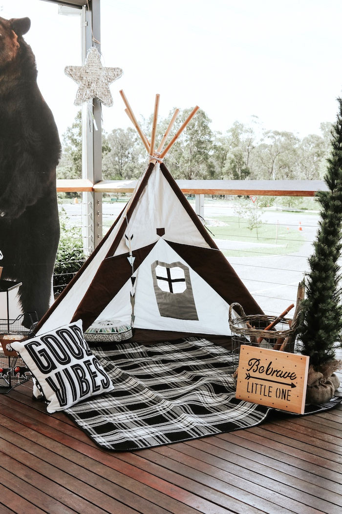 "Black and white teepee tent from a Lumberjack + ""Wild ONE"" 1st Birthday Party on Kara's Party Ideas 
