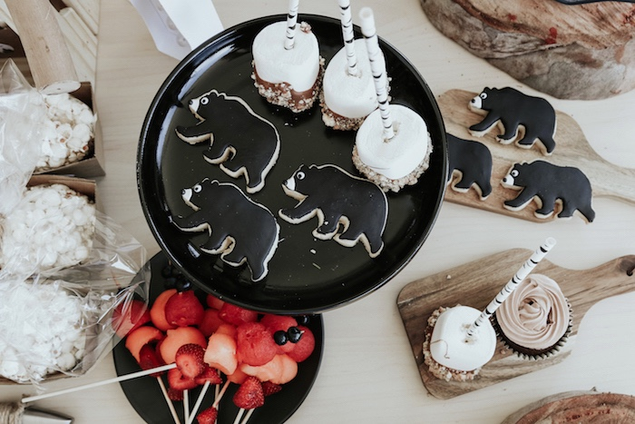 "Grizzly bear cookies, snacks and sweets from a Lumberjack + ""Wild ONE"" 1st Birthday Party on Kara's Party Ideas 