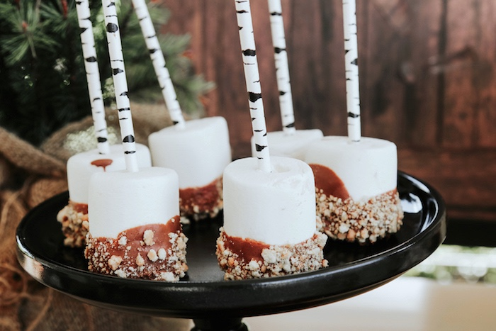 "Marshmallow pops from a Lumberjack + ""Wild ONE"" 1st Birthday Party on Kara's Party Ideas 