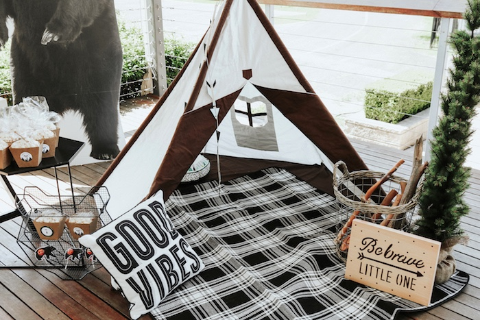"Teepee tent lounge from a Lumberjack + ""Wild ONE"" 1st Birthday Party on Kara's Party Ideas 