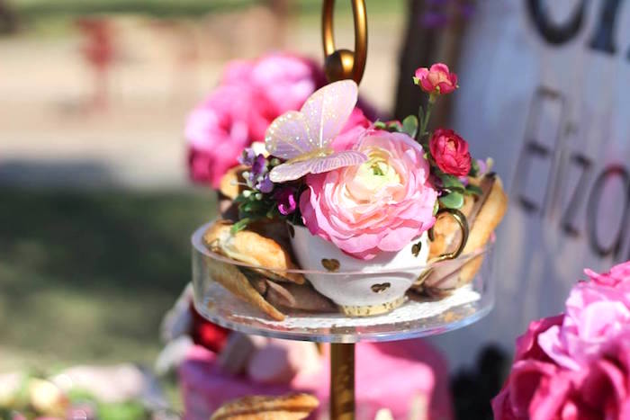 """Tea cup flowers from a Minnie Mouse """"Oh TWO-dles"""" 2nd Birthday Tea Party on Kara's Party Ideas 