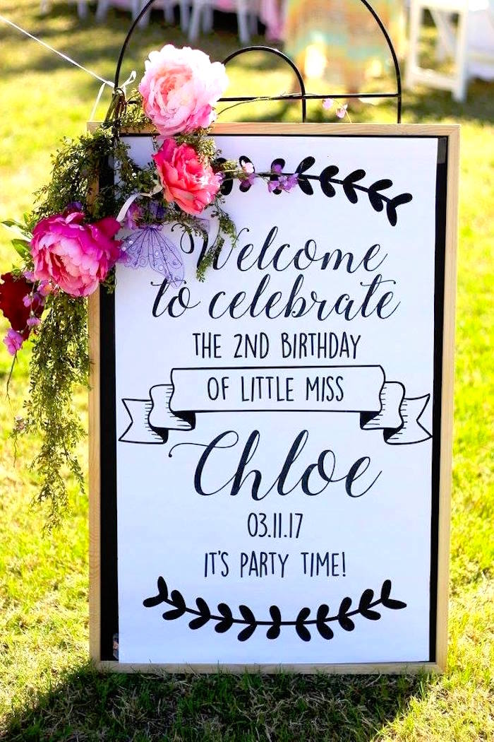 """Welcome sign adorned with floral bunting from a Minnie Mouse """"Oh TWO-dles"""" 2nd Birthday Tea Party on Kara's Party Ideas 