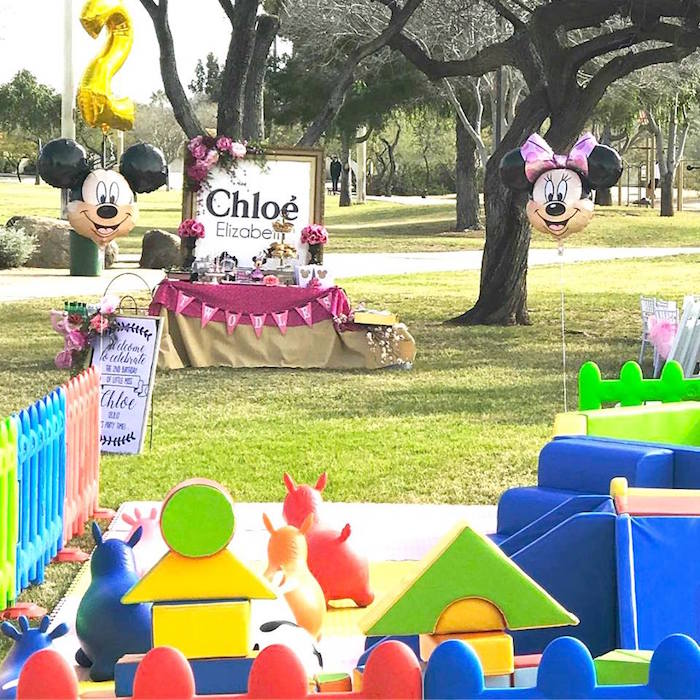 """Partyscape from a Minnie Mouse """"Oh TWO-dles"""" 2nd Birthday Tea Party on Kara's Party Ideas 