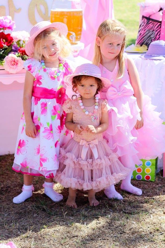 """Little girls in frills from a Minnie Mouse """"Oh TWO-dles"""" 2nd Birthday Tea Party on Kara's Party Ideas 