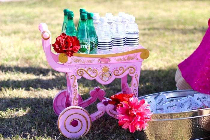 """Drink cart from a Minnie Mouse """"Oh TWO-dles"""" 2nd Birthday Tea Party on Kara's Party Ideas 